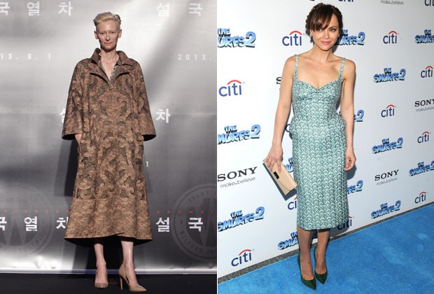 TILDA SWINTON DE VALENTINO COUTURE E CHRISTINA RICCI DE THOM BROWNE (Foto: Getty Images)